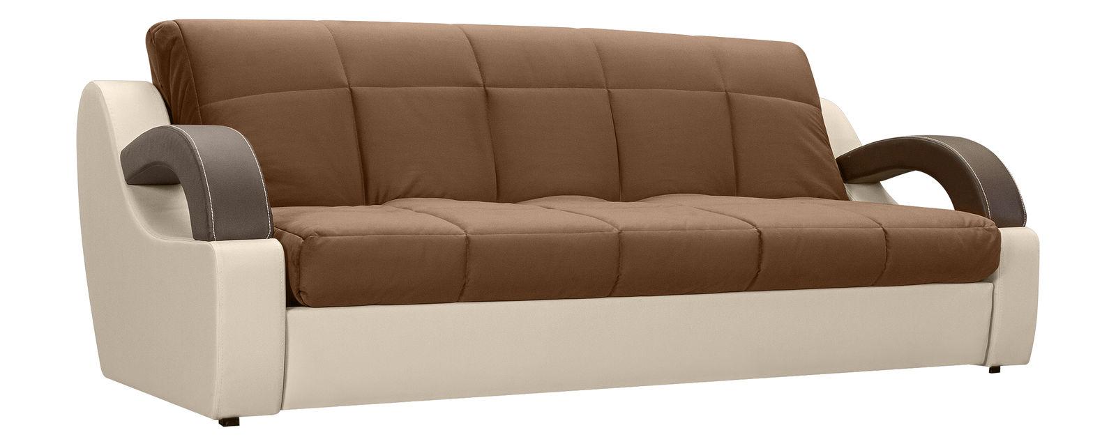 описание Диван тканевый прямой Мадрид Velure коричневый (Ткань + Экокожа)