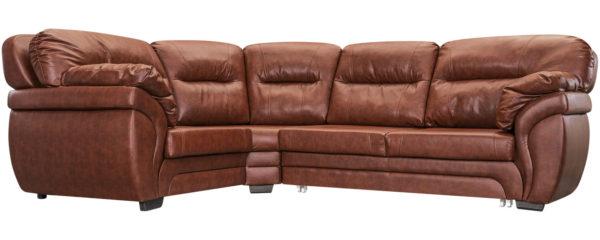 Красивый коричневый угловой кожаный диванчик