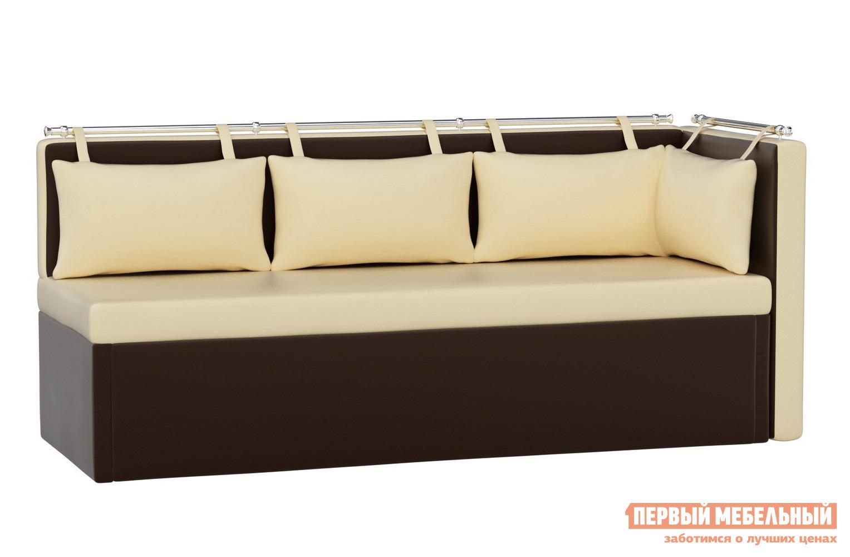 описание Кухонный диван Мебелико Кухонный угловой диван Метро Экокожа бежево-коричневый
