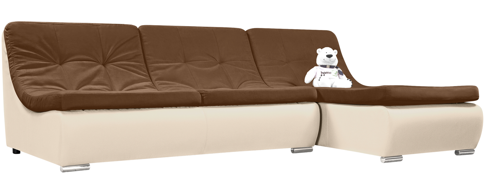 описание Модульный диван Лос-Анджелес Velure коричневый Вариант 1 (Велюр + Экокожа)
