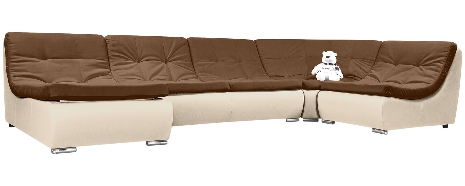 описание Модульный диван Лос-Анджелес Velure коричневый Вариант 2 (Велюр + Экокожа)